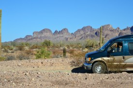 The van and Chiweenies in Kofa NWR ...