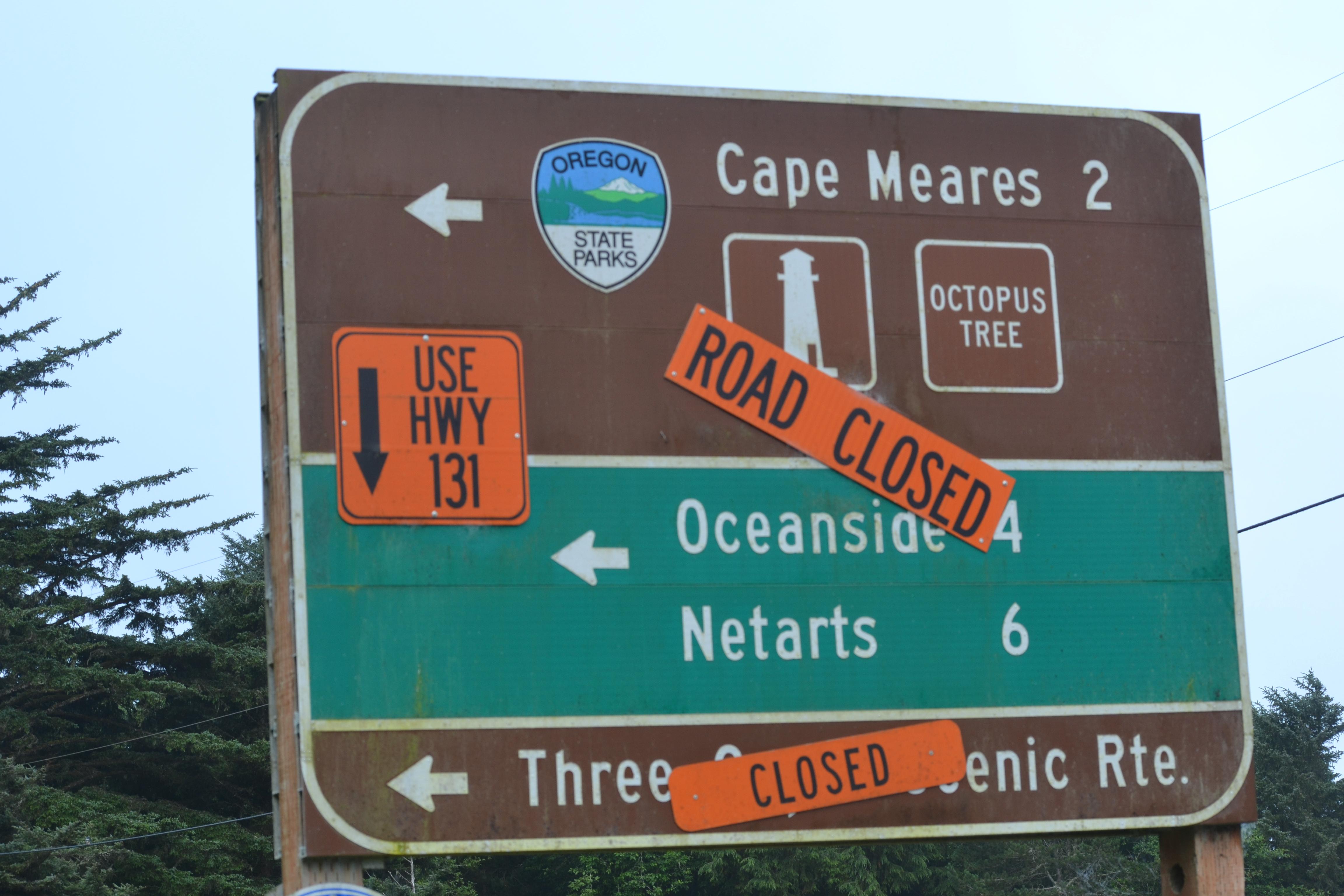 DSC_0001 (3)Cape Meares Road closure sign
